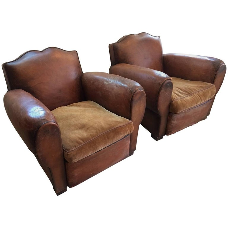 leather club chairs vintage. Authentic Pair Of Distressed French Vintage Moustache Style Leather Club Chairs For Sale F