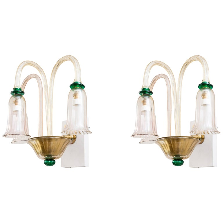 Pair of Wall Lights by Venini, Italy, circa 1950 1