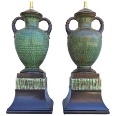 Fabulous Rare Italian 1940s Ugo Zaccagnini Art Pottery Table Lamps