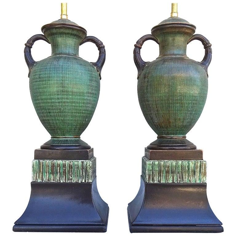 Fabulous Rare Italian 1940s Ugo Zaccagnini Art Pottery Table Lamps