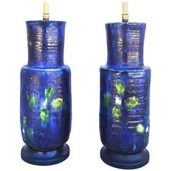Vibrant Pair of 1950s French Art Pottery Table Lamps