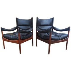 Fabulous Pair of 1960s Kristian Vedel Danish Modern Rosewood Lounge Chairs