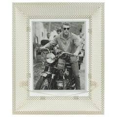 Mathieu Matégot White Perforated Metal Picture Photo Frame, circa 1950s