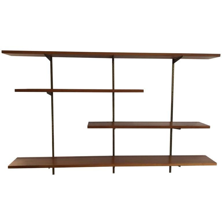 mid century modern george nelson walnut shelf wall unit. Black Bedroom Furniture Sets. Home Design Ideas