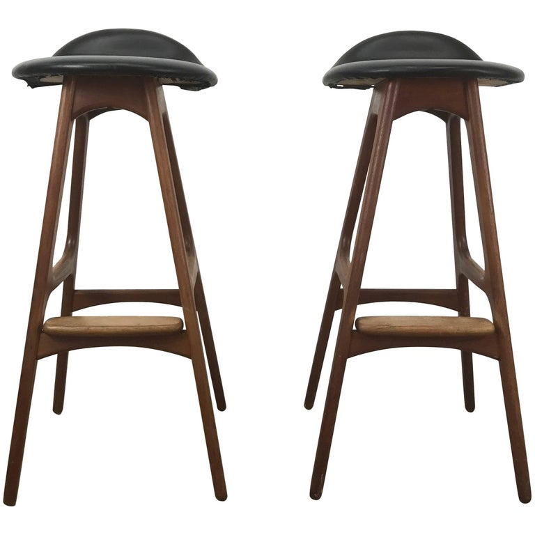 Classic Danish Modern Bar Or Counter Stools By Erik Buch