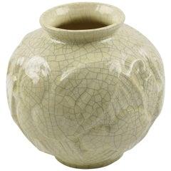 Saint Clement France Art Deco Crackle Glaze Ceramic Vase, circa 1930s