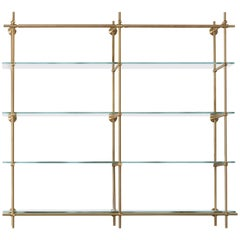 Amuneal's Wall Mounted Collector's Shelving in Warm Brass with Glass Shelves