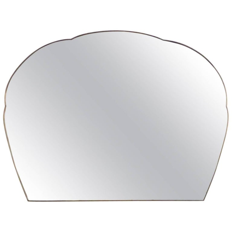 Monumental Italian Brass Framed Mirror With Cloud Shaped Top