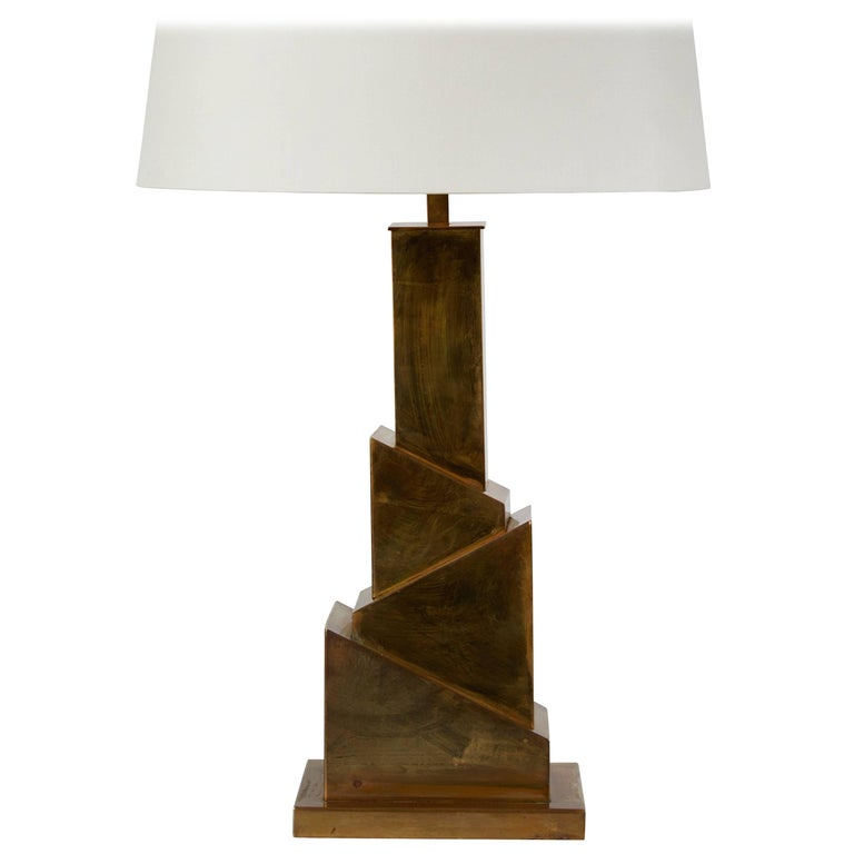 "Brass ""Skyscraper Table Lamp by Romeo Rega"