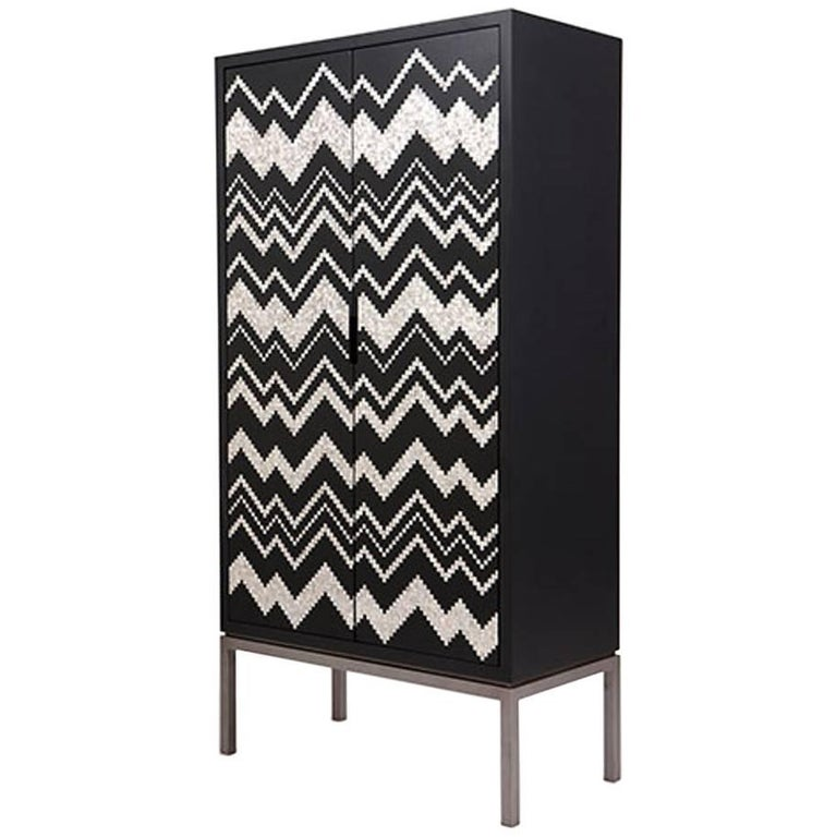 Zig Zag Cabinet by Nada Debs, Classic Cabinet in Mother-of-Pearl Inlay For Sale