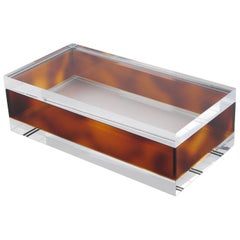Mid-Century Modern Clear and Tortoise Lucite Decorative Box, circa 1970s