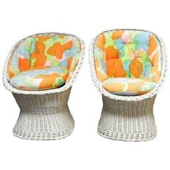 Pair of Mid-Century French Wicker Egg Cup Chairs