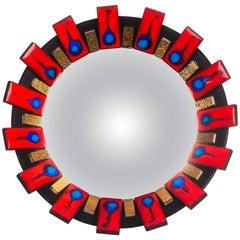 Convex Mirror with Ceramic Tile Frame in Blue, Red, Black & Gold, Belgium 1960