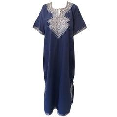 Blue Moroccan Bohemian Caftan Size M