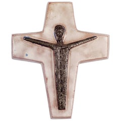 Wall Crucifix, Hand-Painted Ceramic White, Brown, Fat Lava, Belgium, 1970s