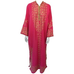 Moroccan Caftan Hot Pink with Gold Embroideries Size L