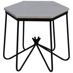 Iron Marble-Top Side Table