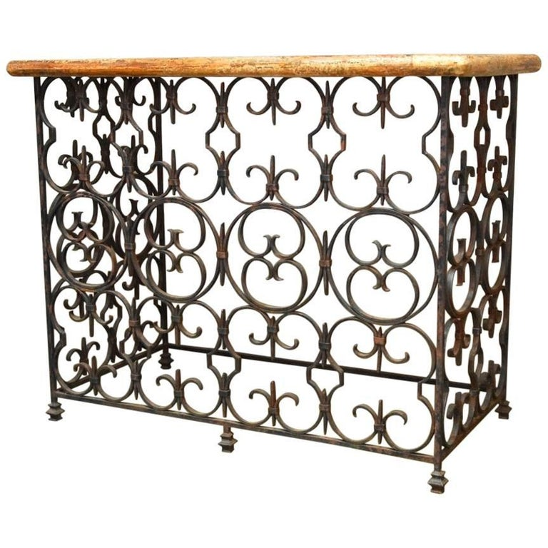 Quatrefoil Wrought Iron and Italian Marble Console Table