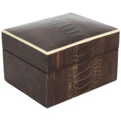 Exotic Ostrich Leather Decorative Box with Bone Inlay