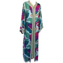 Moroccan Luxury Silk Caftan Gown Maxi Dress