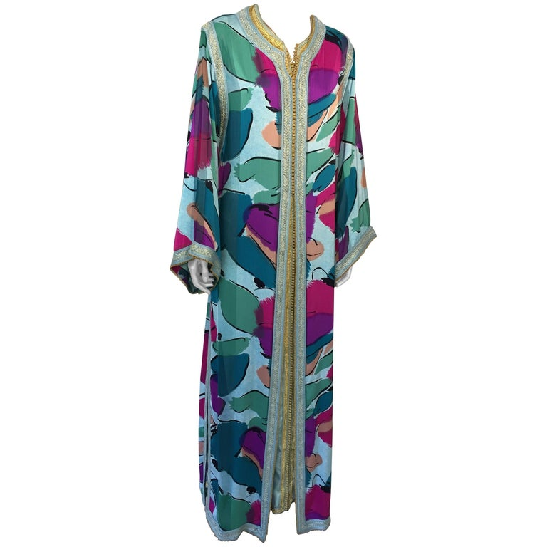 Moroccan Luxury Silk Caftan Gown Maxi Dress For Sale