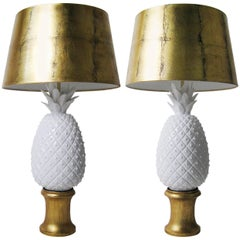 Pair of Porcelain, Wood and Gold Leaf Lamps, Arturo Pani, Mexico, circa 1960