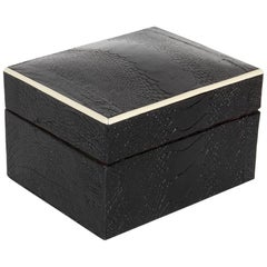 Exotic Ostrich Leather Decorative Box in Black with Bone Inlay