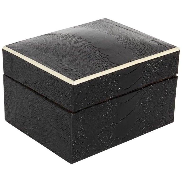 Decorative Bone Boxes : Exotic ostrich leather decorative box in black with bone