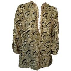 Moroccan Short Vest Gold and Black Brocade Caftan