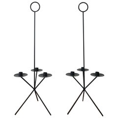 Pair of 1950s Iron CandleHolders