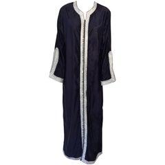 Moroccan Elegant Velvet Kaftan Blue and Silver Caftan