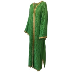 Moroccan Emerald Green Lace and Gold Trim Caftan Set