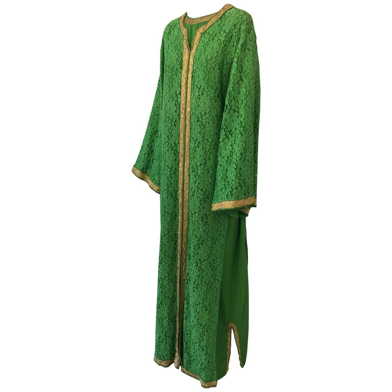 Moroccan Emerald Green Lace and Gold Trim Caftan Set 1