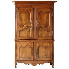 French 18th Century Louis XV Style Fruitwood Cabinet a Deux Corps