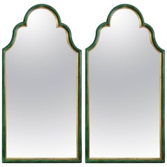 Pair of Mid-Century Wooden Mirrors with Faux Malachite and Gold Trim