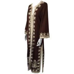 Moroccan Vintage Caftan Maxi Dress Kaftan, 1970 Size M to L