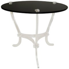 Midcentury Occasional Table, Lucite and Black Vitrolite, Mexico, circa 1965