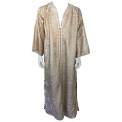 Moroccan Caftan in Silver and Gold Brocade Vintage Gentleman Kaftan 1960