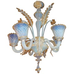 1950 Chandelier Murano Blue Opalescent Color with Gold Included, Five Lights