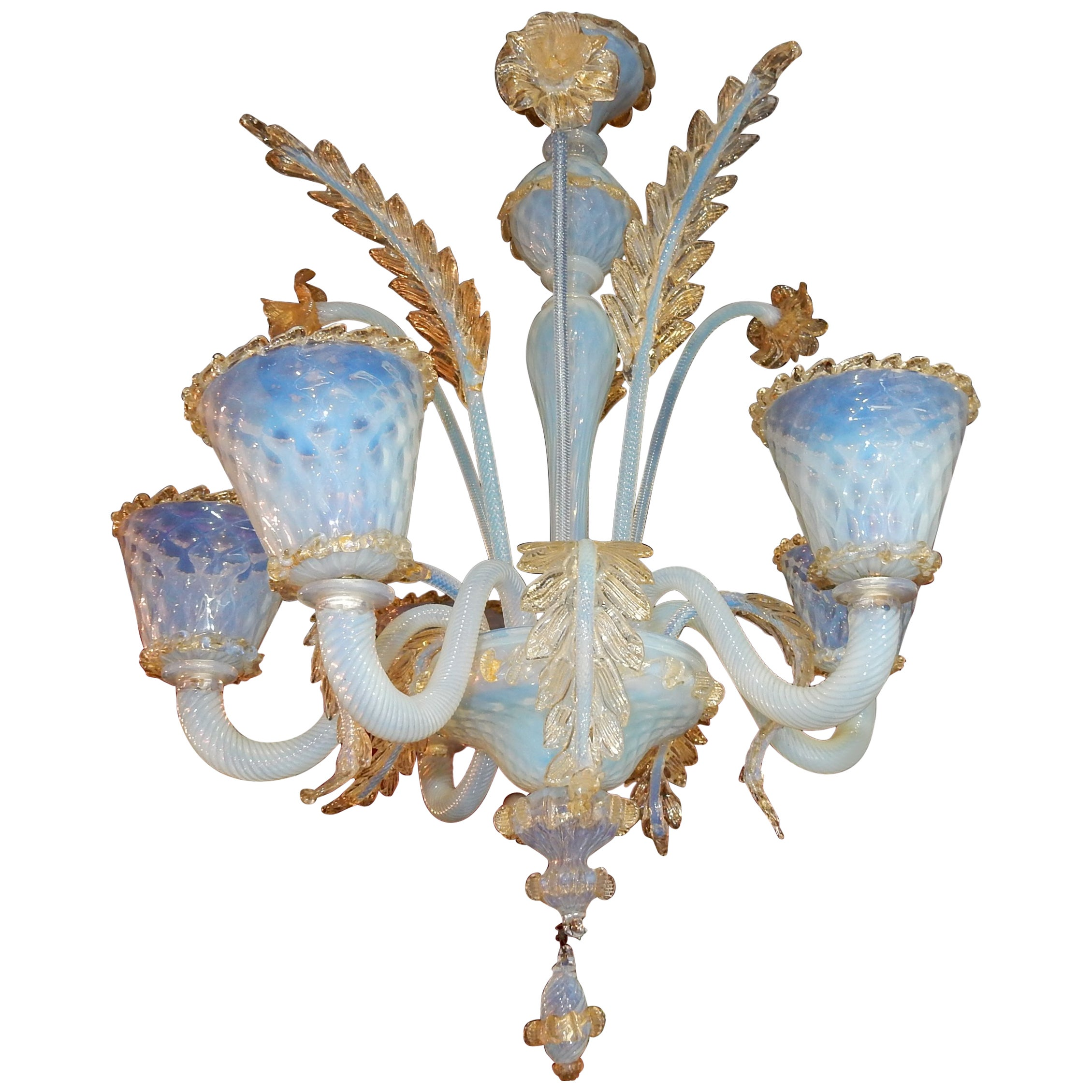 Vintage Murano Glass Chandelier of Murano Crystal with Gold Inclusion