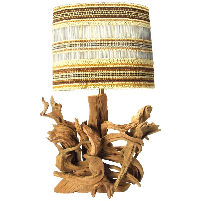 Large Scale Driftwood Lamp with Maria Kipp Shade, 1950s