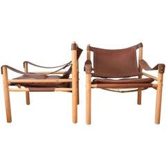 Pair of Mid-Century Swedish Arne Norell Sirocco Safari Chairs, 1970s
