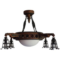 Gothic Revival Pendant with Hand-Carved Gargoyles Wrought Iron & Alabaster Shade