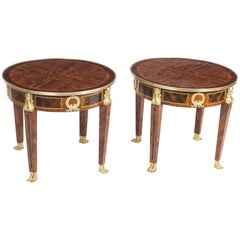 Stunning Pair of French Empire Style Burr Walnut Side Tables
