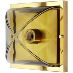 Segmented Smoked Topaz Glass and Brass Flush Mount Vanity Sconce by Limburg