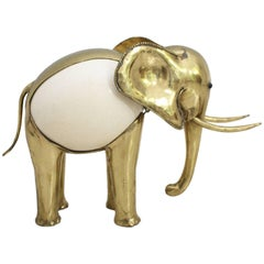 1970s Brass Ostrich Egg Sculpture of an Elephant