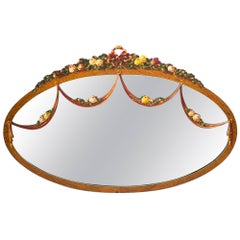 Antique Victorian Satinwood Oval Hand-Painted Mirror, circa 1890