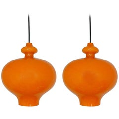 Set of Two Orange Glass Pendant Lights by Hans-Agne Jakobsson, Sweden, 1960s