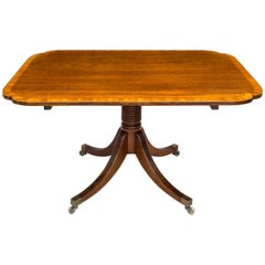 Antique Regency Mahogany and Satinwood Breakfast Dining Table, Seats Four