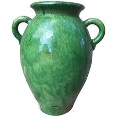 Tall Green Glazed Ceramic Vase Signed Biot